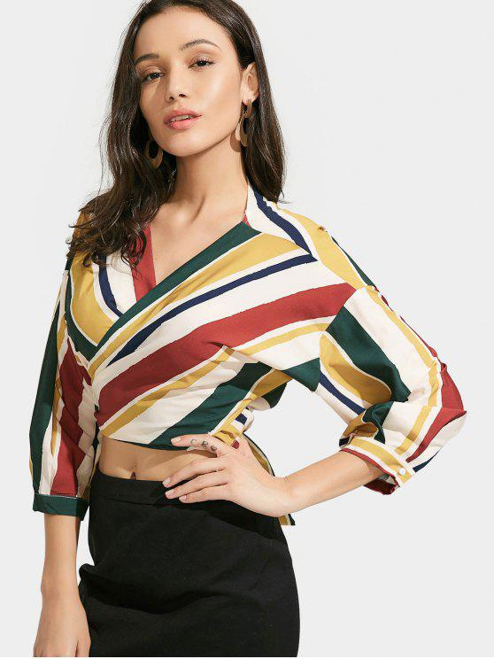 c79bddea590b1 61% OFF  2019 Cropped Stripes Wrap Blouse In STRIPE