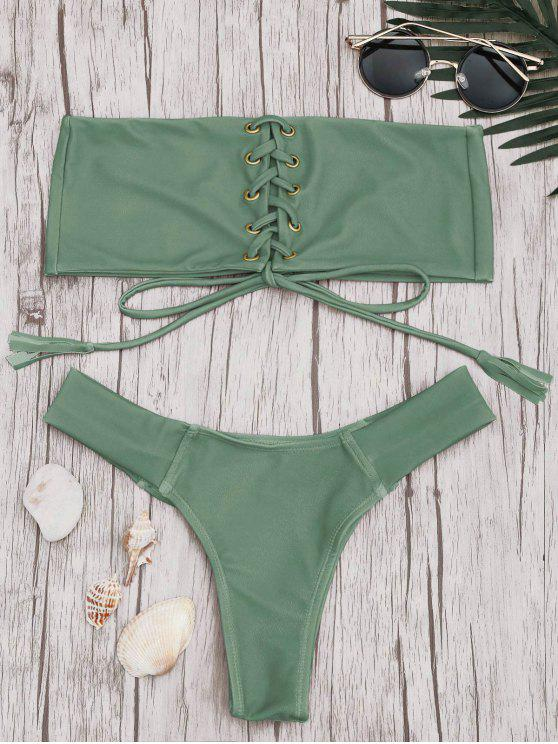 chic Bandeau Lace Up Bikini Set - PEA GREEN M