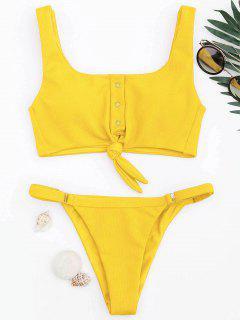 Verstellbarer Texturierter Knoten Bralette Bikini Set - Gelb L