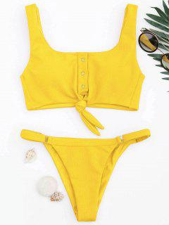 Adjustable Textured Knot Bralette Bikini Set - Yellow S