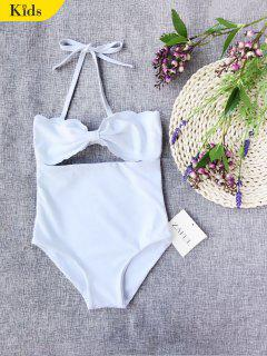 Cut Out Bowknot Halter Kid Swimwear - White 8t