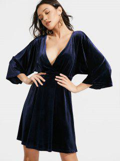 Kimono Sleeve Crushed Velvet A Line Dress - Purplish Blue S