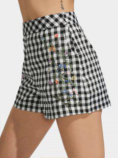 Checked Floral Embroidered High Waisted Shorts - Checked M