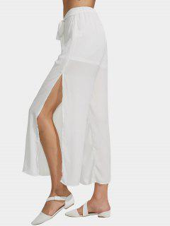 Chiffon Belted High Slit Wide Leg Pants - White Xl