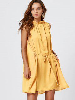 Self Tie Ruffle Neck Chiffon Dress - Yellow S