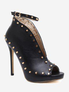 Studded Ankle Strap Peep Toe Pumps - Black 40