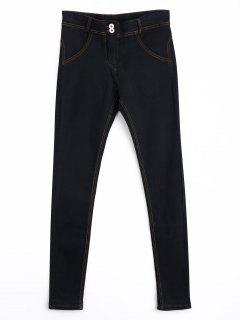 Skinny Double Buttoned Pencil Jeans - Black L