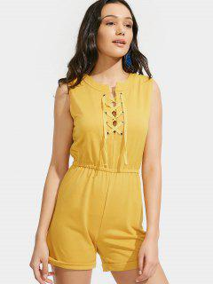 Elastic Waist Lace Up Romper - Yellow S