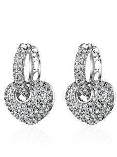 Rhinestone Heart Hoop Earrings - Silver