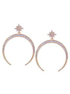 Statement Rhinestone Sun Moon Earrings - Golden