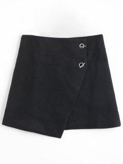 Grommet Button Plus Size Asymmetric Skirt - Black 5xl