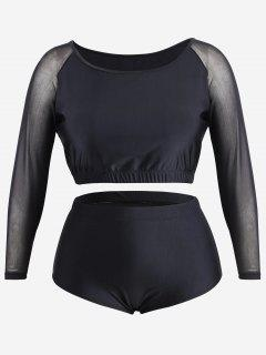 Plus Size Mesh Panel Rash Guard - Black 4xl