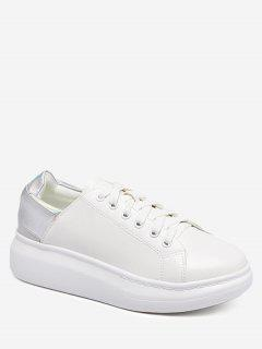 Platform Color Block Sneakers - Silver 38