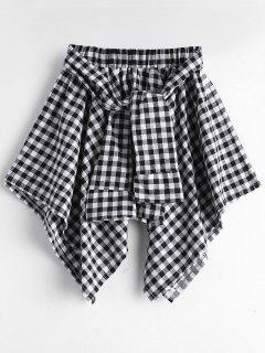 Self Tie Asymmetric Checked Skirt - Black