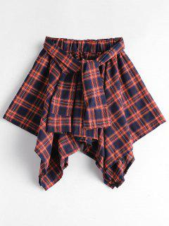 Self Tie Asymmetric Checked Skirt - Red