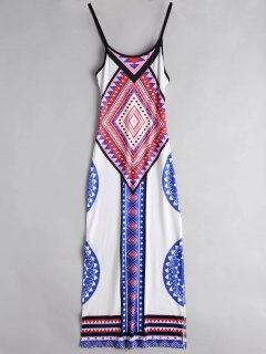 Argyle Side Slit Cami Maxi Dress - White S