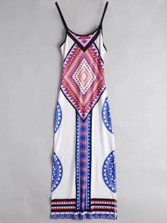 Argyle Side Slit Cami Maxi Dress - White L