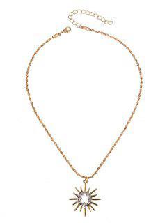 Rhinestoned Sun Pendant Necklace - Golden
