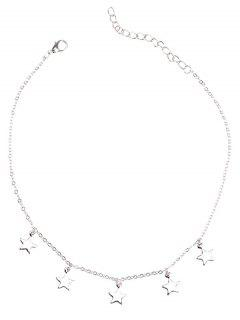 Charm Star Collarbone Chain Necklace - Silver
