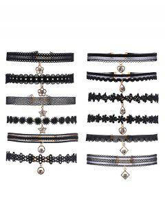 Rhinestone Star Flower Heart Choker Set - Black