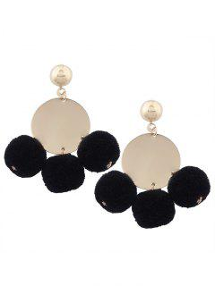 Round Disc Fuzzy Ball Earrings - Black