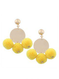 Round Disc Fuzzy Ball Earrings - Yellow