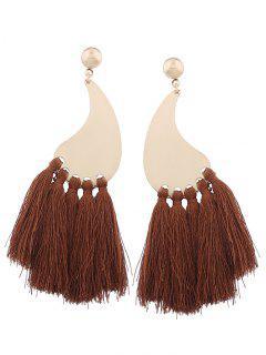 Statement Long Tassel Earrings - Brown