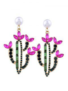 Faux Pearl Crystal Cactus Earrings - Pink