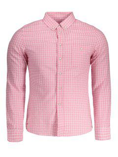 Button Down Checked Shirt - Pink 4xl
