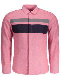 Mens Color Block Shirt - Pink 5xl