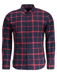 Chemise à Flan à Carreaux Boutonné - Bleu Et Rouge Xl