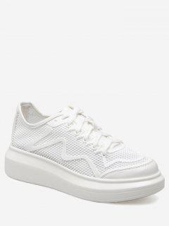 PU Leather Insert Breathable Athletic Shoes - White 39