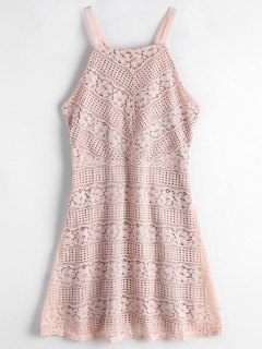Strappy Mini Lace Prom Dress - Light Pink S
