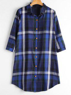 Button Up Long Checked Shirt With Pockets - Royal M