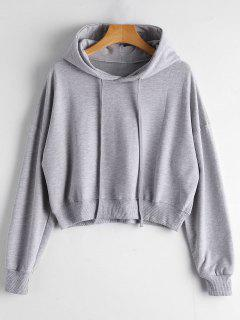 Drop Shoulder Drawstring Plain Hoodie - Gray