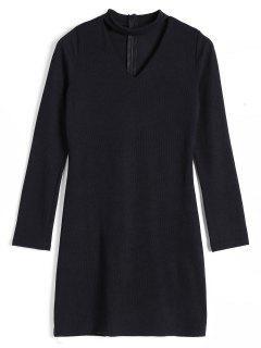 Robe Tricotée Choker Côtelée Dos Zippé - Noir Xl