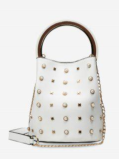 Chain Faux Pearls Bucket Bag - White