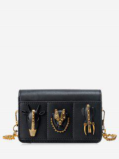 Chain Rivets Faux Leather Crossbody Bag - Black