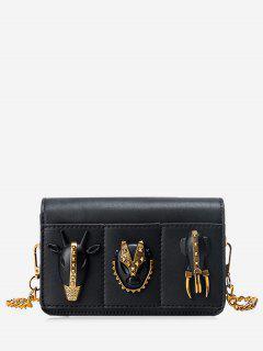 Chain Rivets Faux Leather Crossbody Bag - Black
