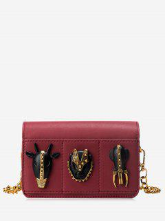 Chain Rivets Faux Leather Crossbody Bag - Wine Red