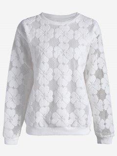 Plus Size Mesh Flower Sweatshirt - White 3xl