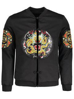 Embroidered Applique Bomber Jacket - Black 3xl