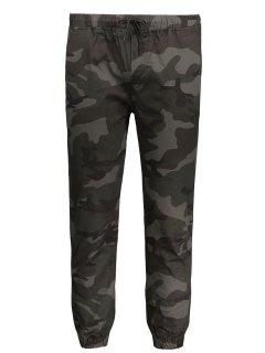 Drawstring Camo Jogger Pants - Army Green Xl