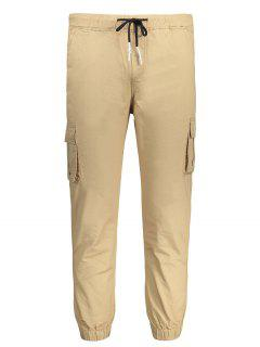 Contrast Drawstring Jogger Pants - Khaki Xl