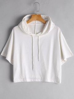 Drawstring Cropped Hoodie - White S