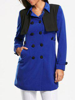 Double Breasted Bolero Panel Pea Coat - Blue Xl