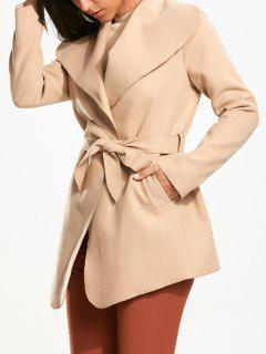 Belted Wrap Plain Coat Pocket - Light Khaki L