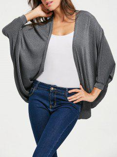 Batwing Sleeve Draped Cardigan - Gray