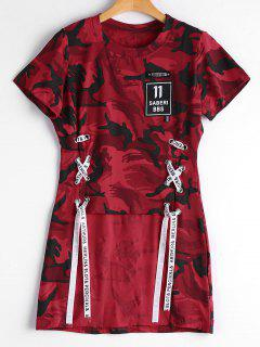 Ate La Camiseta Alta Baja Del Camuflaje Del Remiendo - Rojo S