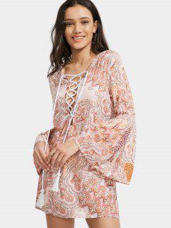 Printed Lace Up Tassels Mini Dress - S